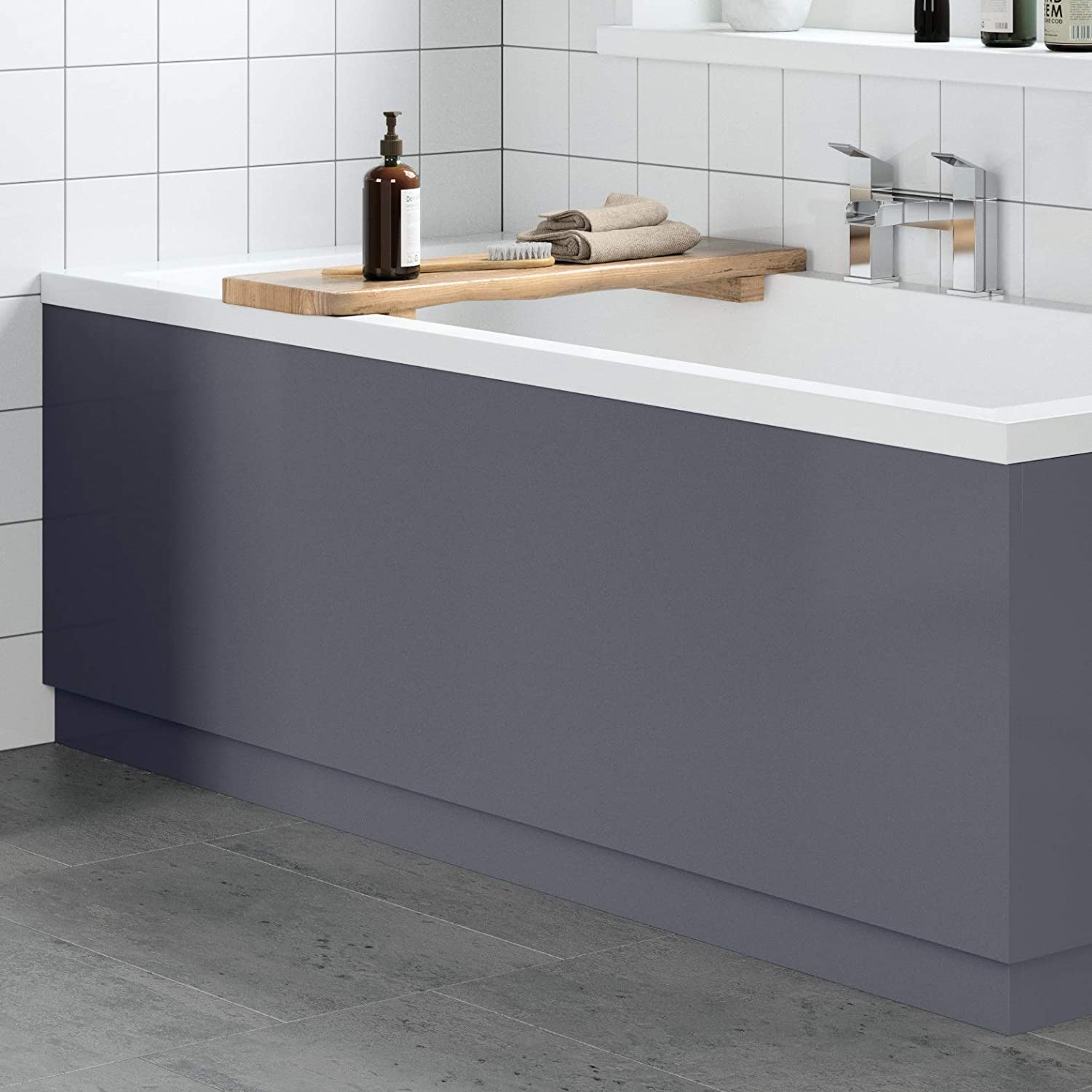 Modern Bathroom 1800 Front /& 800 End Bath Panel Pack 18mm MDF Grey Gloss Plinth