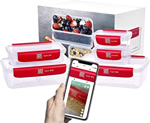 Premium Plastic Airtight Food Storage Containers, Food Shelf Life Tracker, BPA-Free/Leakproof/Microwave Safe/Freezer Meal Prep Containers with APP Tracker/Food Info Storage (5 pack)