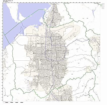 County Utah Map.Amazon Com Salt Lake County Utah Ut Zip Code Map Not Laminated