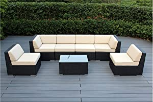 Genuine Ohana Fully Assembled Outdoor Patio Wicker Sectional Furniture 7pc Sofa Set (Sand)