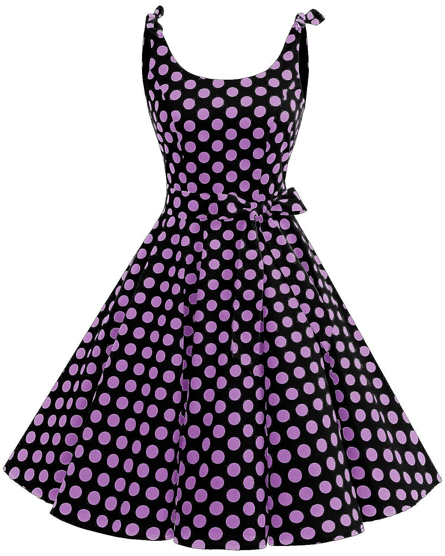 TALLA 3XL. Bbonlinedress Vestidos de 1950 Estampado Vintage Retro Cóctel Rockabilly con Lazo Black Purple Bdot 3XL