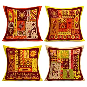 Easternproject 4 Pack African Home Decorative Pillowcase Ethnic Tribal Native American Indian Style Throw Waist Pillow Case Cushion Cover Protector Cotton Linen Square 18''x18''(4 Pack Indian Style-A)