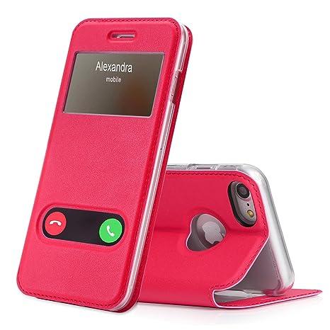 coque iphone 8 clapet rose