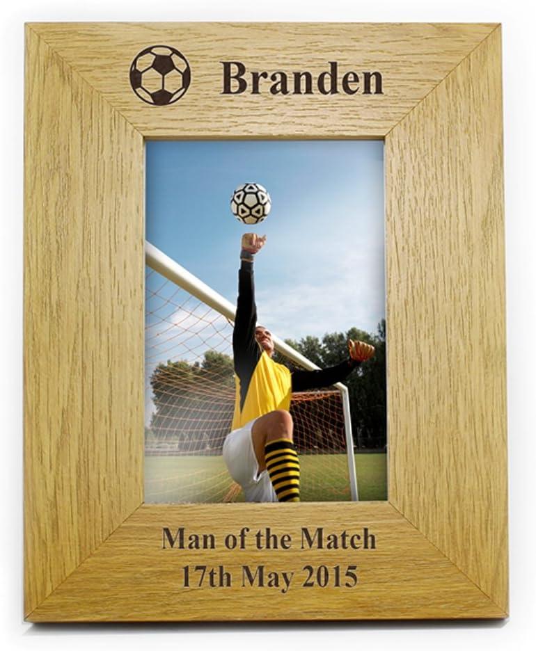 Personalised Oak Finish 6x4 Football Photo Frame Football Gifts