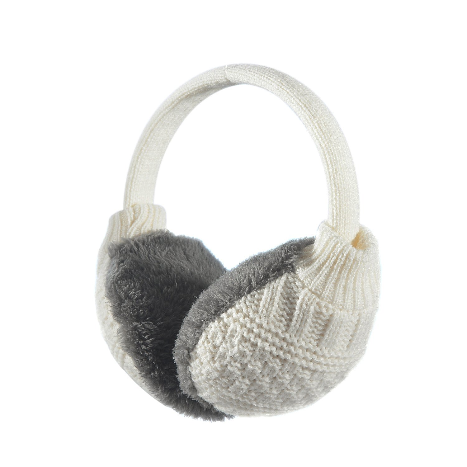 Sudawave Women's Winter Adjustable Knitted Ear Muffs With Faux Furry Outdoor Ear warmers (Cream White)