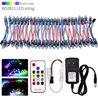 VISDOLL WS2811 DC12V Pixel LED String Lights Kit with RF Remote and Power Supply, Individually Addressable 12mm Diffused…