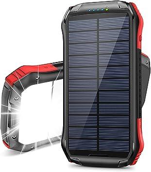ORITO Cargador Solar Portátil Power Bank Solar 16000mAh, Batería Externa Solar con Carga Rápida 2 Salidas