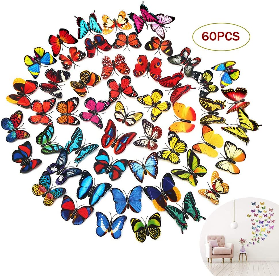 3D Butterfly Wall Stickers Decals Appliques Wall Decorations for Girls Babies Kids Toddlers Bedroom Living Room Wall Art Decor DIY 60 PCS Colorful Butterfly Appliques(with Magnets)