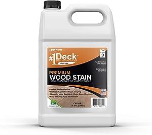 #1 Deck Premium Semi-Transparent Wood Stain for Decks, Fences, Siding - 1 Gallon (Cedar)