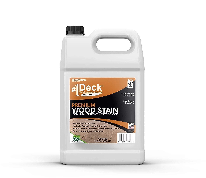 #1 Deck Stain - Premium Semi-Transparent Wood Stain for Decks, Fences, Siding - 1 Gallon (Cedar)