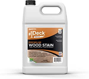 #1 Deck Premium Semi-Transparent Wood Stain for Decks, Fences, Siding - 1 Gallon (Cedar)
