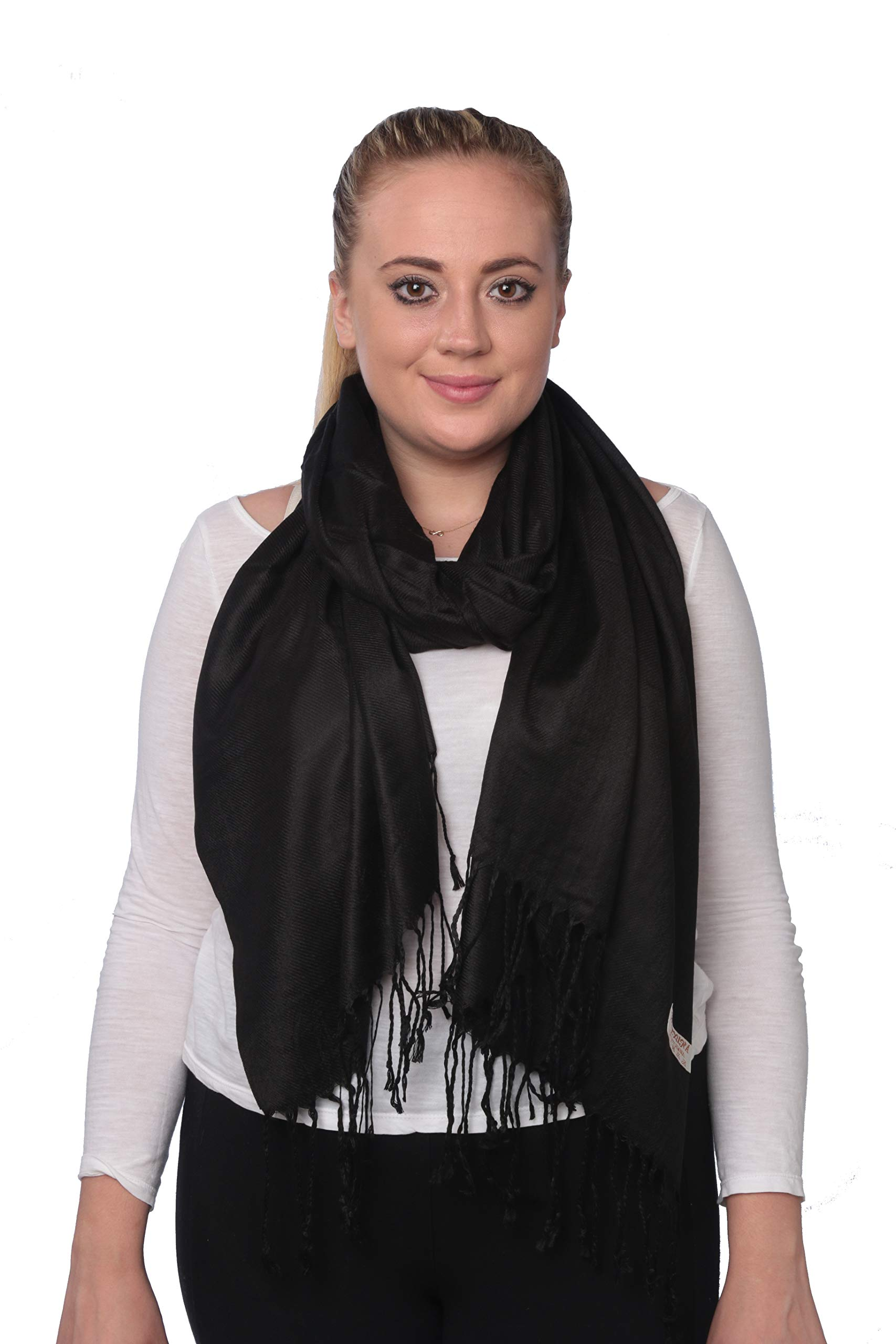 Pashmina Shawls and Wraps - Large Scarfs for Women - Party Bridal Long Fashion Shawl Wrap with Fringe