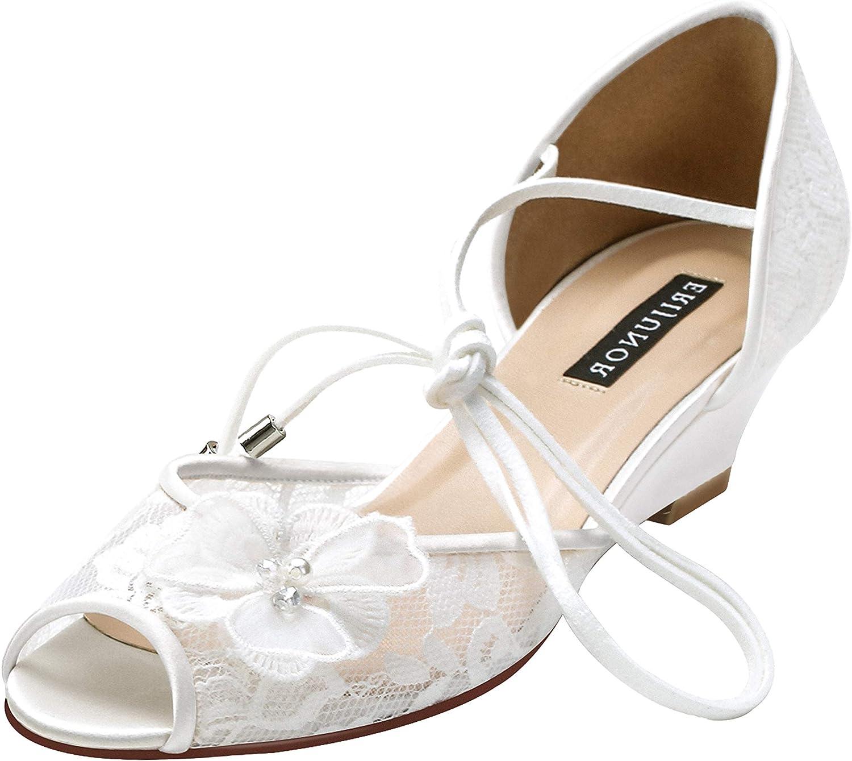 Amazon Com Erijunor Women Lace Peep Toe Bridal Wedding Shoes Mid