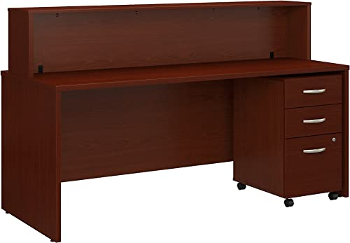 Bush Business Furniture Series C 72W x 30D Reception Desk with Mobile File Cabinet in Mahogany