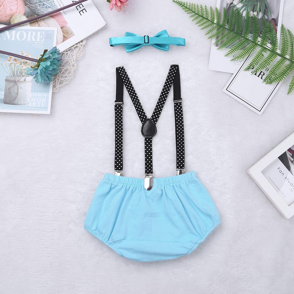 TiaoBug Baby Boys First 1ST Birthday Suspenders Bottoms Cake Smash Outfit Clothing Set Photography