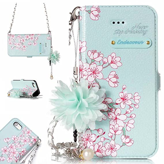 reputable site c839d 24bab Amazon.com: iPhone 5 SE Wallet Case for Women, iPhone 5S Flip Case ...