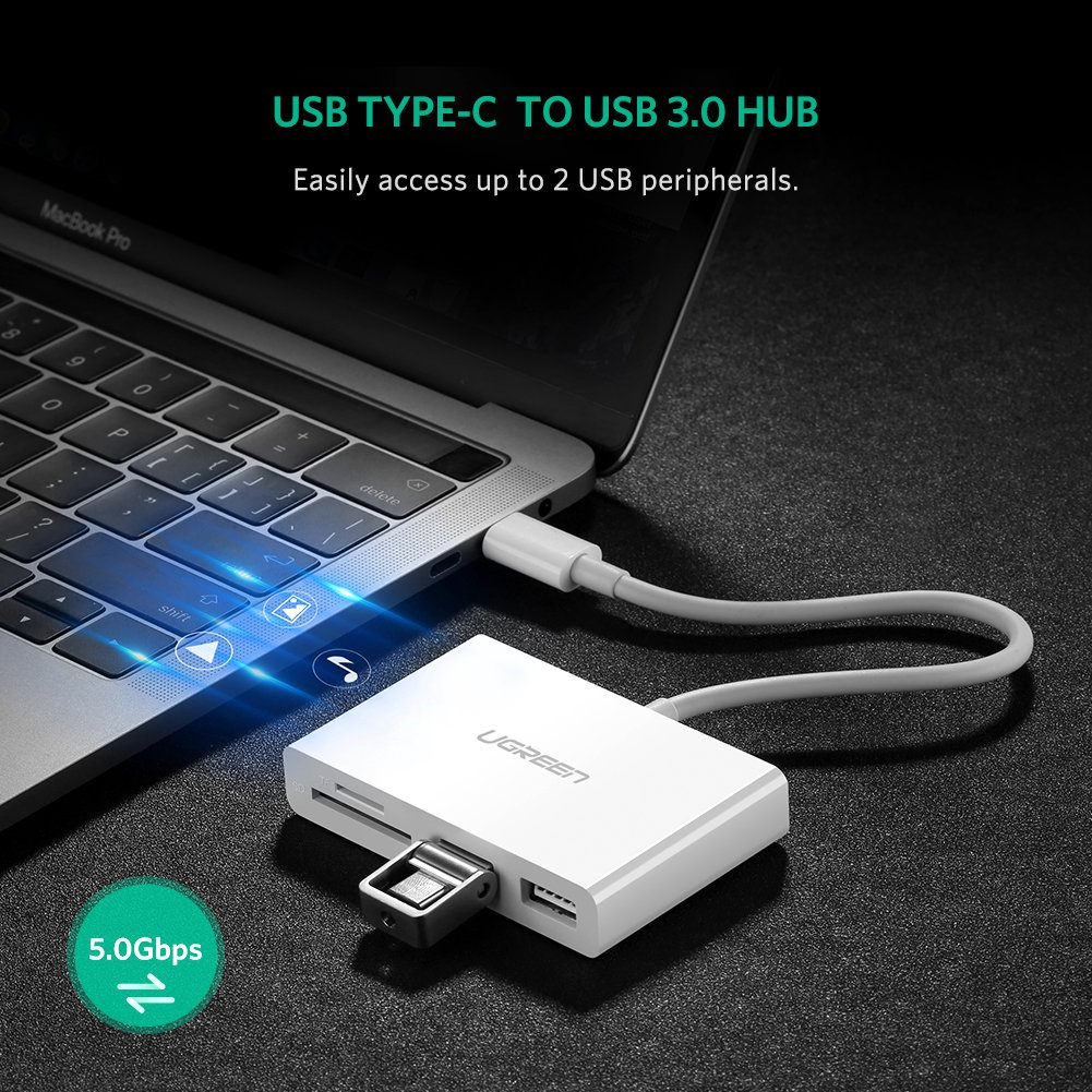 Ugreen Usb Type C Hub Adapter With Power Delivery Micro Otg Cable As Well Trrs Headphone Jack Wiring Diagram Further Charging Port 30 Ports Sd Tf Card Reader35mm Audio Computers Accessories