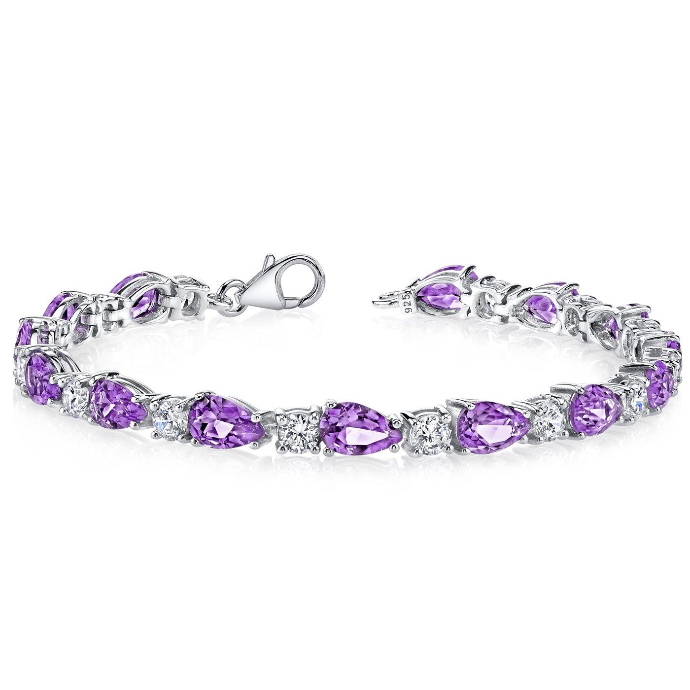 10.00 Carats Amethyst Tennis Bracelet Sterling Silver Rhodium Nickel Finish Pear Shape