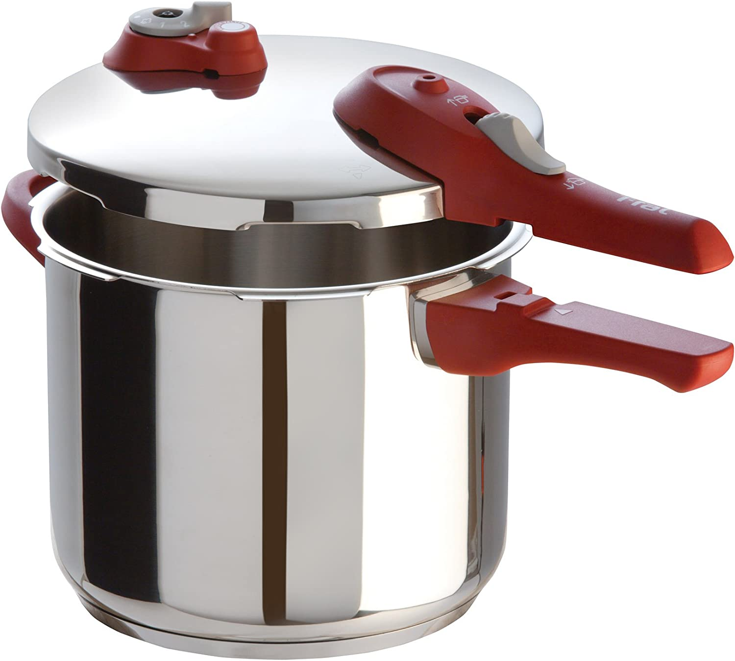 T-fal Simply Delicioso YS2H4064 Express Stainless Steel Dishwasher Safe 7.4-Quart Pressure Cooker, Silver