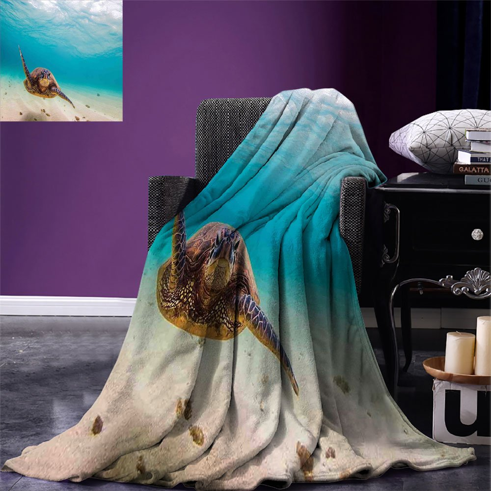 smallbeefly Hawaiian Lightweight Blanket Underwater Scuba Diving Sea Turtle Nature Animal Swimming Wildlife Theme Digital Printing Blanket Blue Beige Brown
