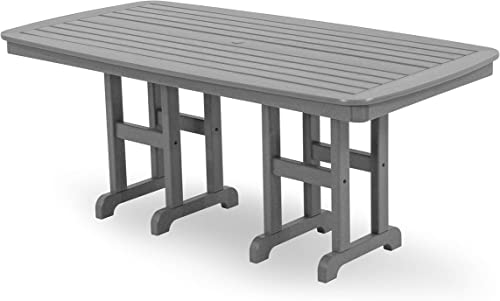 POLYWOOD NCT3772GY Nautical Dining Table, 37 by 72-Inch, Slate Grey