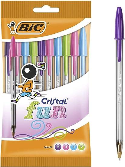 BIC Cristal Fun bolígrafos Punta Ancha (1,6 mm) – colores Surtidos, Blíster de 10 unidades: Amazon.es: Oficina y papelería