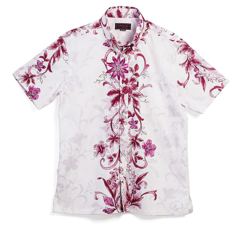 MAJUN (マジュン) かりゆしウェア アロハシャツ かりゆし 結婚式 メンズ 半袖シャツ ボタンダウン パッションフラワー B07BNH4BBK  ピンク L