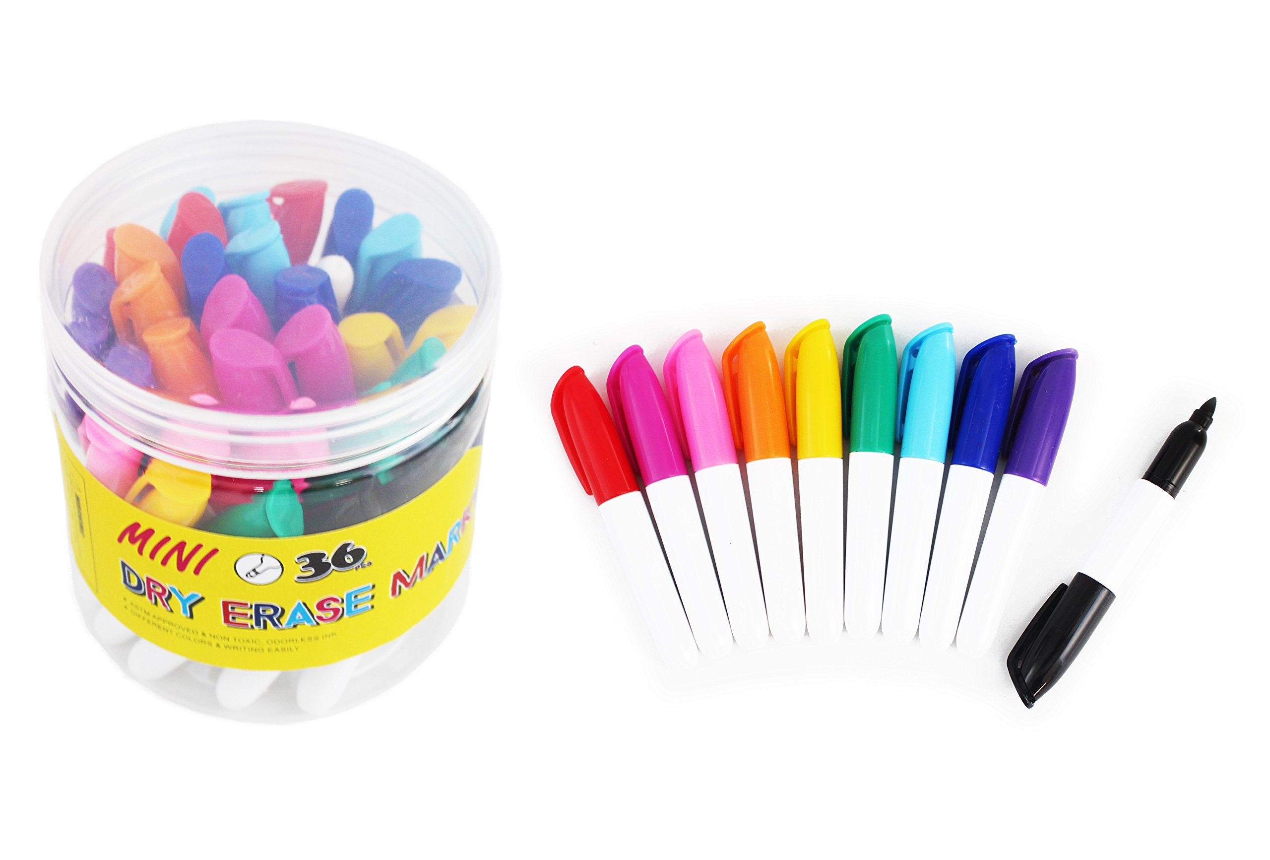 SKKSTATIONERY 36-Pcs Mini Dry Erase Markers, Whiteboard Markers, Marker Pens 3.5'', Markers