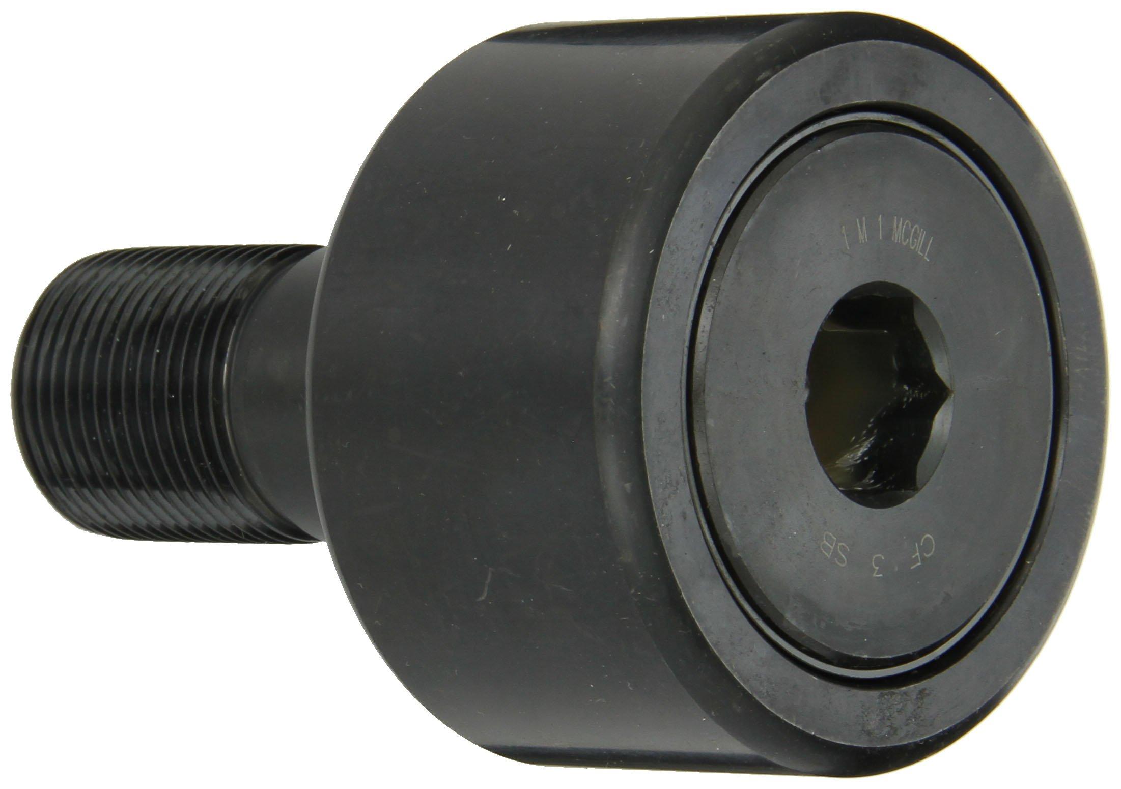 McGill CF3SB Cam Follower, Standard Stud, Sealed/Hex Hole, Inch, Steel, 3'' Roller Diameter, 1-3/4'' Roller Width, 2-1/2'' Stud Length, 1-1/4'' Thread Size, 4-9/32'' Overall Length, 1.250'' Stud Diameter