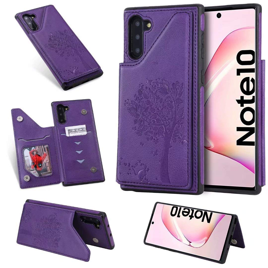 DAMONDY for Samsung Note 10 Case,Emboss Tree Cat Slim Protective Case with Credit Card Slot Holder Flip Folio Soft PU Leather Magnetic Closure Cover Case for Samsung Galaxy Note 10-Purple by DAMONDY