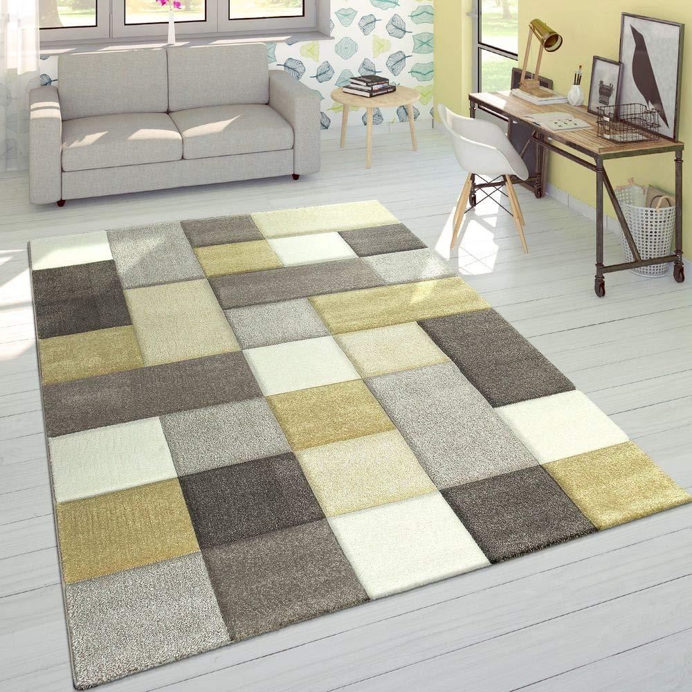 Paco Home Designer Teppich Modern Konturenschnitt Moderne Pastellfarben Kariert Beige Gelb, Grösse 160x230 cm