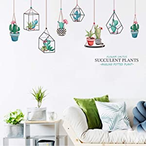 MOLANCIA Succulent Cactus Plants Wall Stickers, Bonsai Removable Nature Murals, Green Plants Wall Decals, Vinyl Removable Art Wall Decor for Kids Room Girl Bedroom Living Room Home Decoration -B