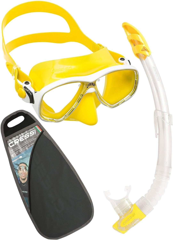 Adulto Taglia Unica Cressi Matrix /& Gamma Combo Set Maschera e Snorkel Unisex Nero