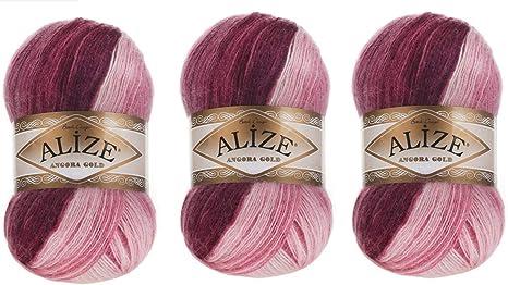 601 yards and Lilac Shades Turkish Yarn Angora Color Glitz Turquoise,Pink