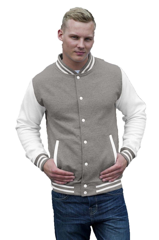 M Taglia Colore Felpa College Uomo Giacca Baseball AWDis Varsity Jacket Maniche A Contrasto Rosso Bianco