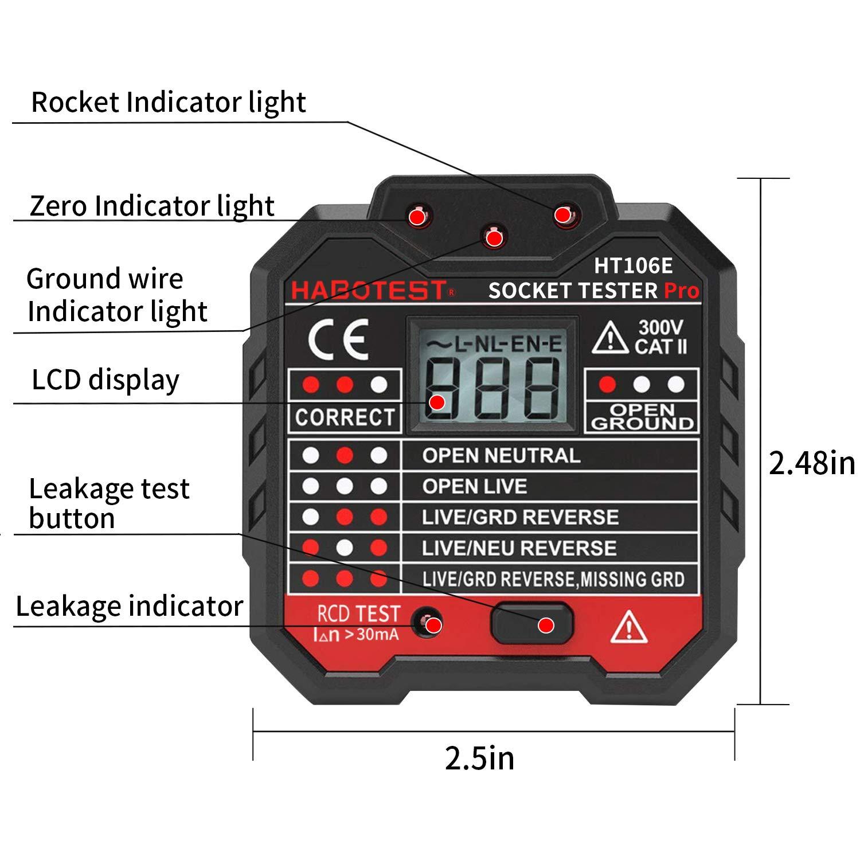 de courant pour circuits /électriques Polarit/é neutre et terre de c/âblage /électrique Tacklife EST02-2/Testeur de prises