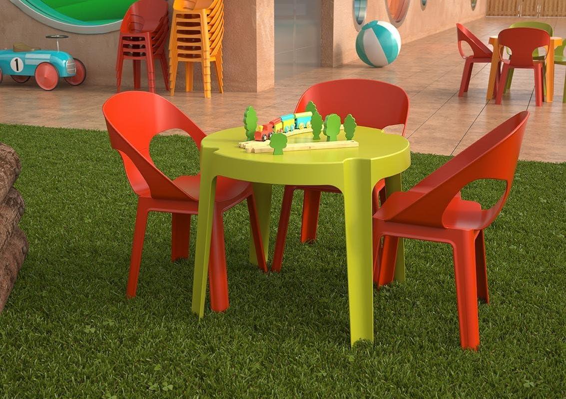 resol Rita set infantil de 2 sillas y 1 mesa para interior, exterior, jardín - color verde lima Rosa