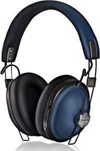 Panasonic Retro Noise Cancelling Bluetooth Wireless Headphone with Voice Assist, Microphone, Deep Bass Enhancer, 24 Hours Playback -RP-HTX90N-A (Indigo Navy)