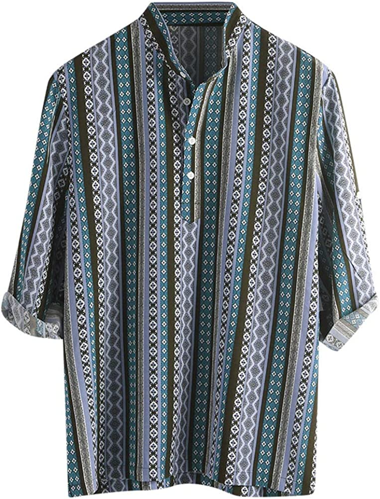 HCFKJ Camisa de Rayas de Media Manga con impresión étnica para Hombre Turquesa XL: Amazon.es: Ropa y accesorios