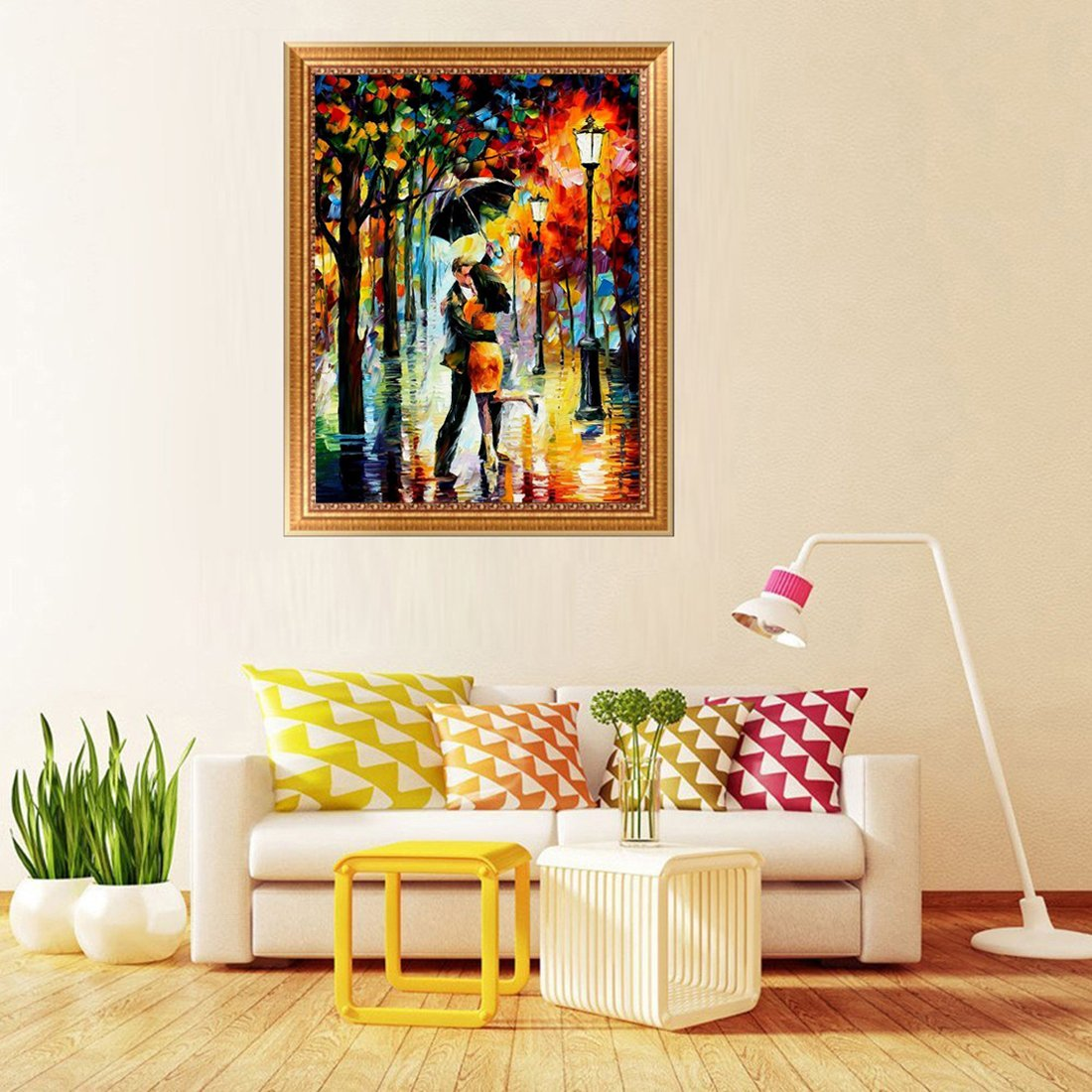 5D Diamond Painting Kit DIY Full Drill Arts Crafts Wall Decor 2 Pack by Yomiie, for Living Room Rainy Night Lovers (12.6x16.5inch/32x42cm) & Walking in Rainy Night (15.7x10.6inch/40x27cm)