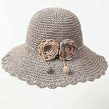 LIANGJUN Headwear Summer Women s Outdoor Sun Hats Girls  Caps Visors Woven  Collapsible With Flowers Summer 828b48891f28