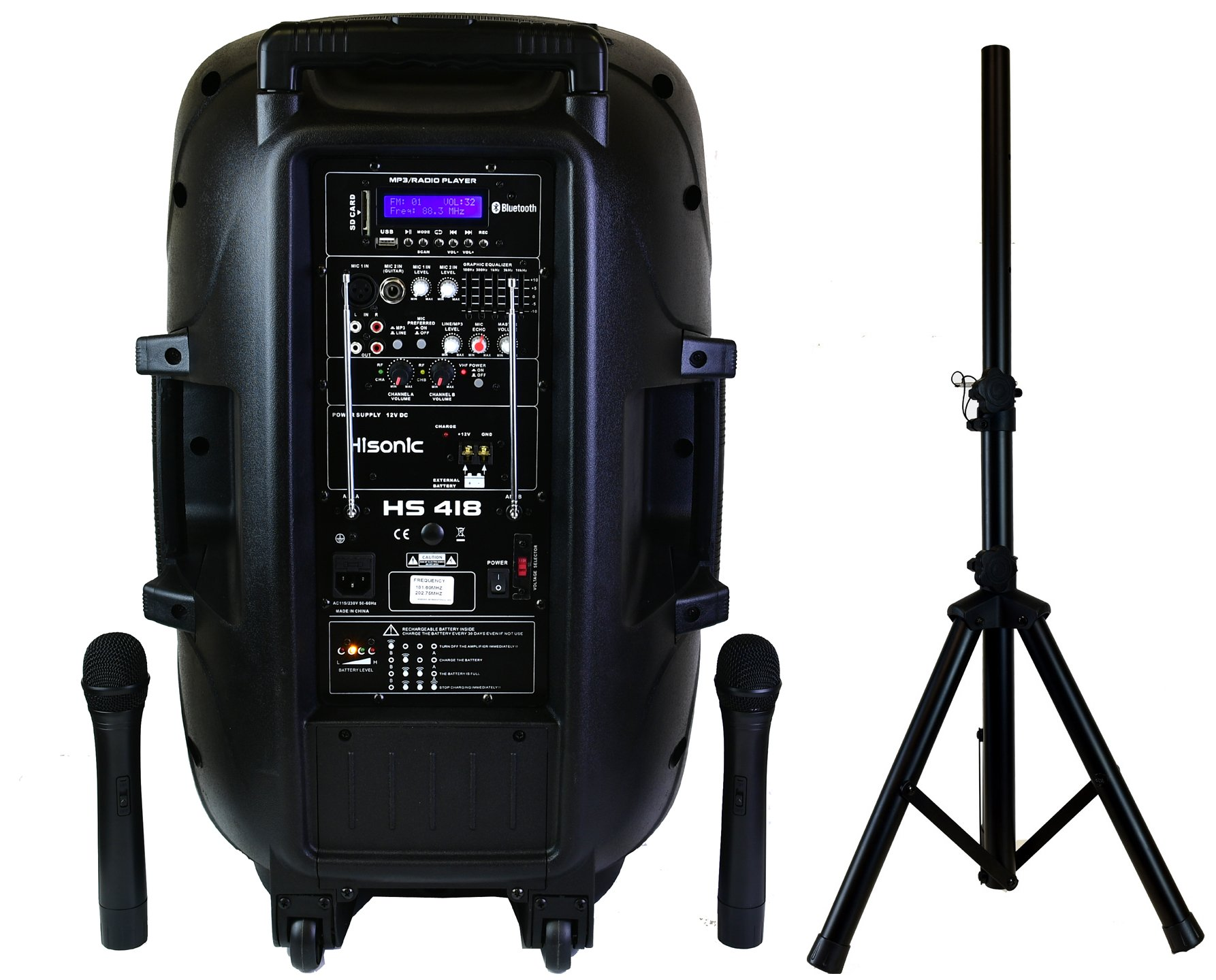Hisonic HS418 450 True Watts 15'' Full Response Speaker + 2'' Tweeter and Wireless Rechargeable & Portable PA System with Built-in Dual VHF Wireless Microphones, Bluetooth and Music Player, Two Section Strong 48'' High Tripod and Remote Control Included, wit
