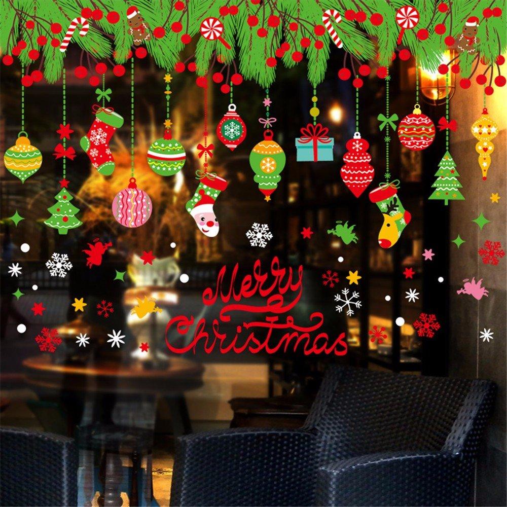 Christmas Hotel Bar Cloth Ornaments Glass Sticker Shop Festive Arrangement Snowflake Strap Windowguard Waterproof 50x70cm