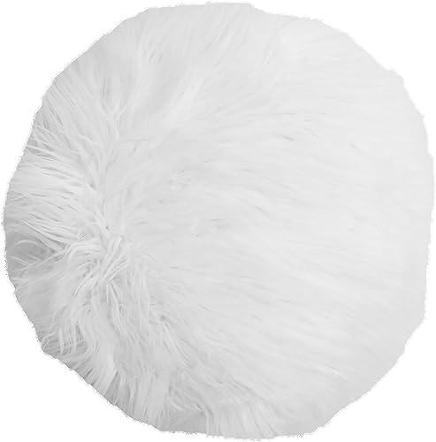 Thro by Marlo Lorenz TH015177002E 16 Kari Keller Round Faux Mongolian Pillow, White