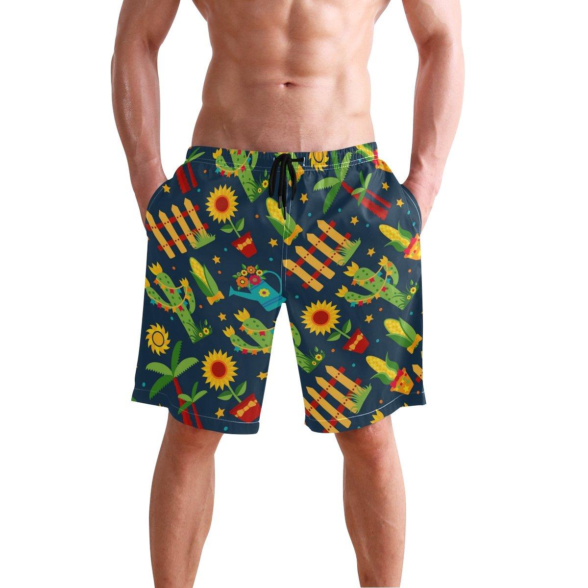 REBACAT Plants Cactus Sunflowers Mens Swim Trunks Quick Dry Beach Board Shorts with Drawstring Pocket