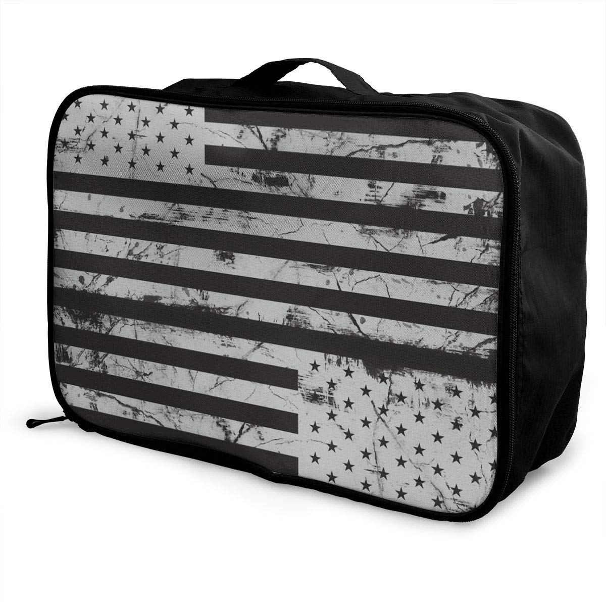 YueLJB Black USA Flag Lightweight Large Capacity Portable Luggage Bag Travel Duffel Bag Storage Carry Luggage Duffle Tote Bag