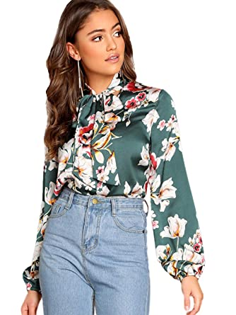 7f00f56ea Romwe Women's Long Sleeve Floral Print Tie Neck Casual Blouse Top Green XS