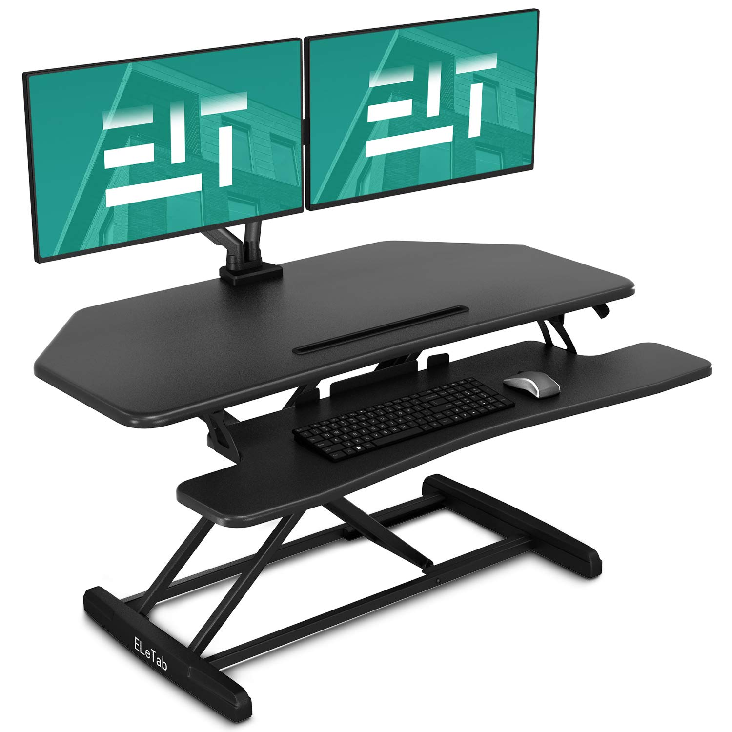 EleTab Standing Desk Converter 37 inches Black Stand up Gas Spring Workstation Quick Sit to Stand Tabletop Dual Monitor Riser
