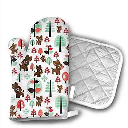 retro reindeer christmas oven mitts professional heat resistant microwave bbq oven insulation thickening cotton gloves