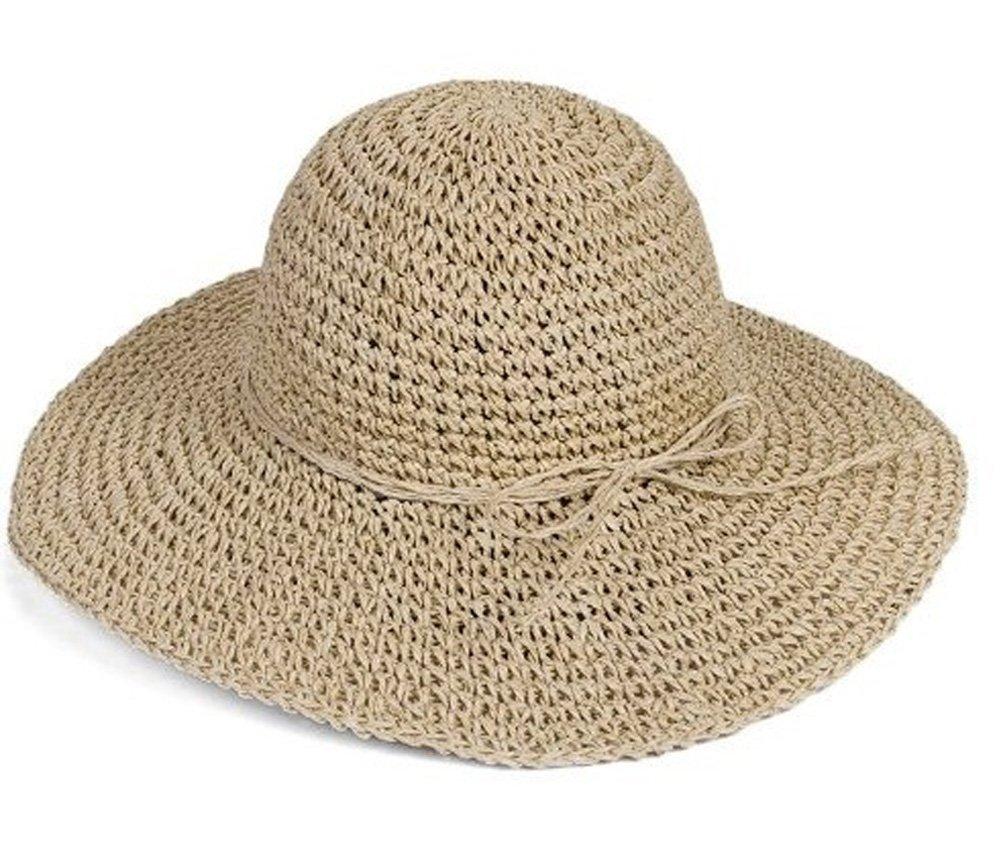 Sombre Hugestore con diseño plegable y de paja para mujeres, ideal para playa beige beige